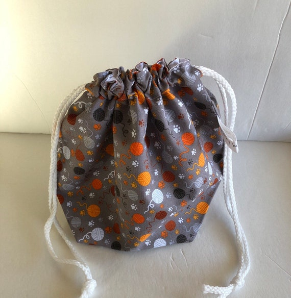 Drawstring Project Bag, yarn ball fabric, gift for knitter, knitter gift, project bag, knitting bag, yarn bag, sock knitting bag