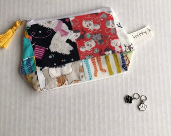 Patchwork Notion Pouch, Notion Pouch, Scissor Pouch, Pouch, Patchwork, Scrappy Pouch, Gift for Knitter, Crochet Gift