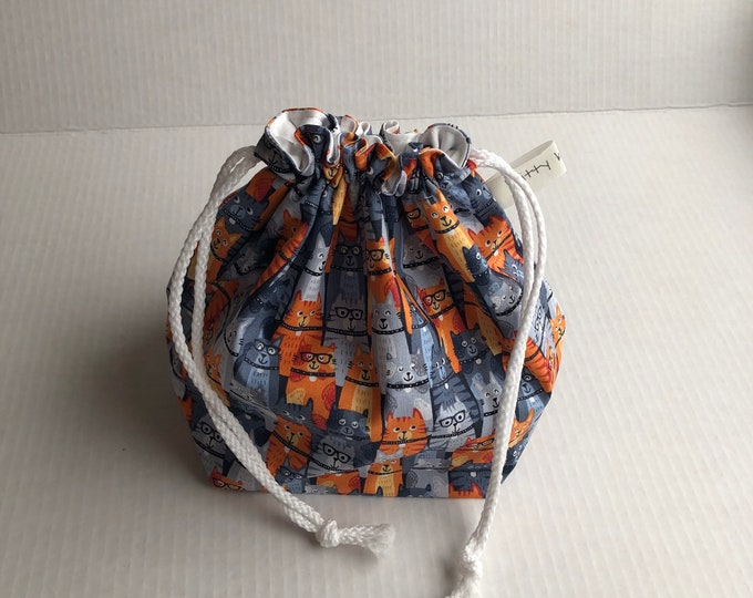 Drawstring Project Bag, project bag, cat lover bag, drawstring bag, knitter gift, gift for knitter, cat fabric bag, sock knitter gift