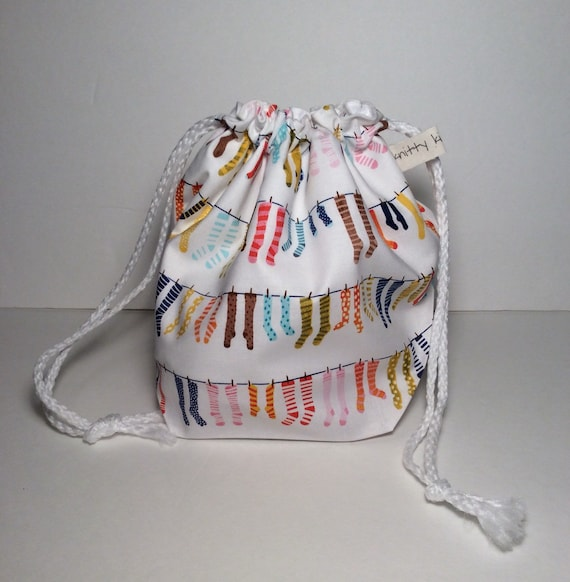 Drawstring Project Bag, gift for knitter, knitter gift, sock knitter bag, project bag, sock bag, drawstring bag, sock knitter, knitting bag