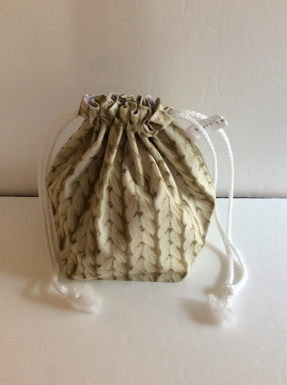 Drawstring Project Bag, knitted fabric bag, project bag, gift for knitter, knitter gift, yarn bag, drawstring bag, sock knitter bag
