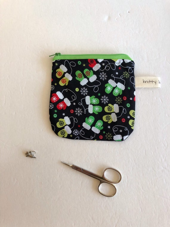 Notions Pouch, fabric pouch, gift for knitter, stitch marker pouch, scissor pouch, zippered pouch, coin pouch, pouch