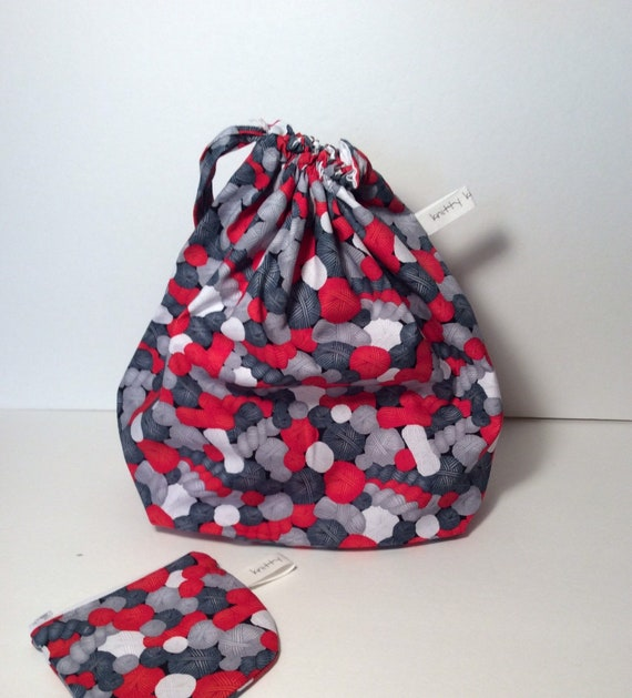 Drawstring Project Bag, sweater knitting bag, yarn bag, gift for knitter, gift for crocheter, yarn bag, project bag, drawstring bag