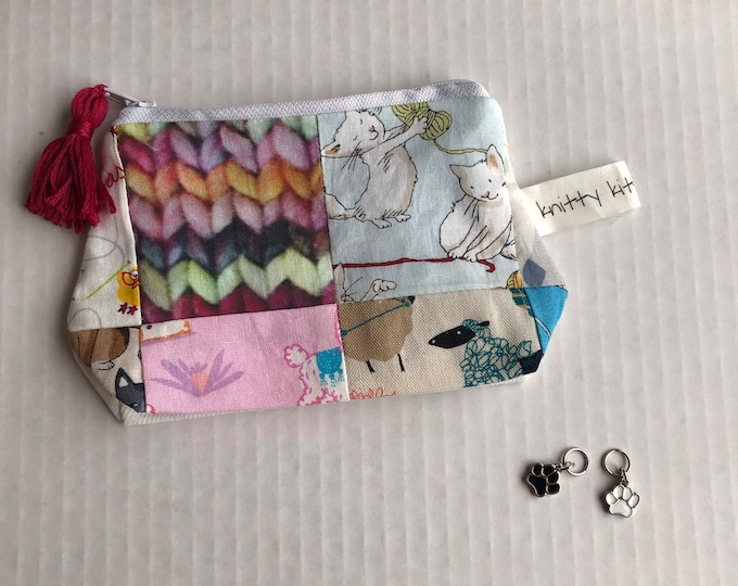 Notion Pouch, patchwork pouch, needle pouch, gift for knitter, knitter gift, scissor pouch, zipper pouch, coin pouch, crochet gift
