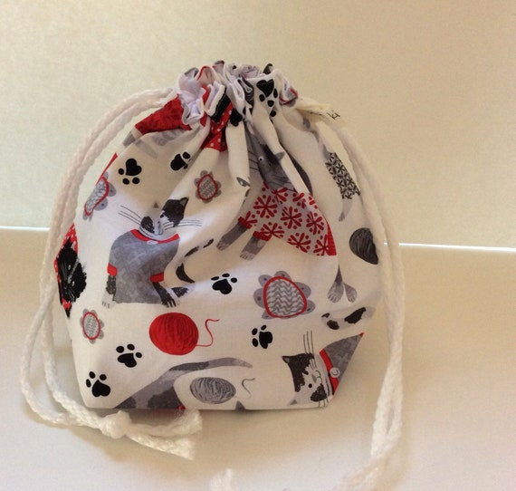 Drawstring Project Bag, project bag, knitter gift, gift for knitter, cat lover bag, yarn bag, drawstring bag, knitting bag, bag