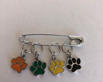 Stitch Markers, knitting jewelry, knitting markers, paw markers, progress keepers, gift for knitters, knitter gifts, crocheter gift