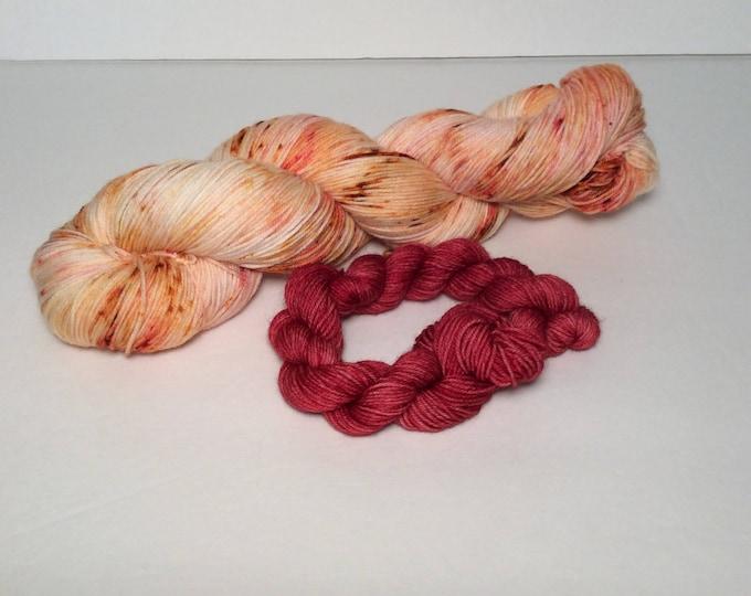 Sock Yarn Set, orange yarn, speckled yarn, sock yarn, sock set, fingering yarn, wool yarn, wool nylon yarn, mini skeins, yarn