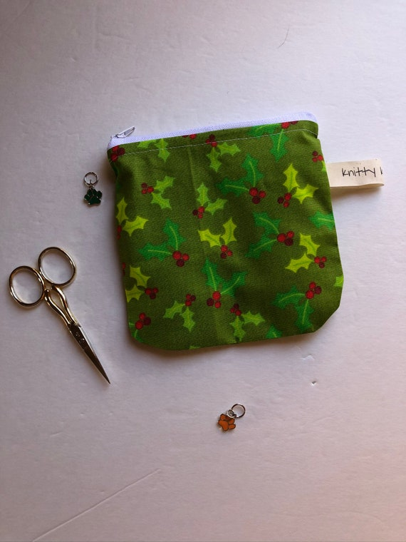 Notion Pouch, holiday fabric pouch, knitter gift, gift for knitters, scissor pouch, coin pouch, zipper pouch, needle pouch