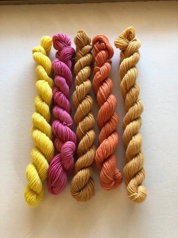 Botanically Dyed Sock Yarn Mini Skeins