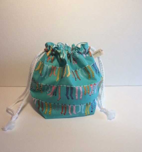 Drawstring Project Bag, project bag, knitter gift, gift for knitter, fabric bag, sock knitting bag, yarn bag, drawstring bag