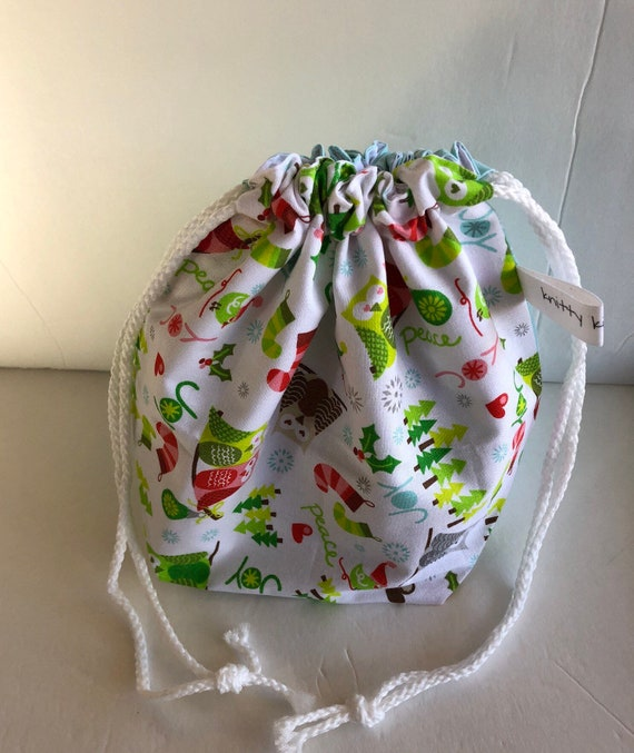 Drawstring Project Bag, holiday project bag, gift for knitter, knitter gift, sock knitter, shawl knitter, project bag, fabric bag