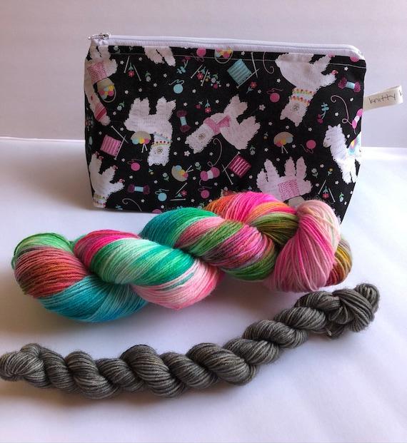 Sock Kit, sock set, zipper project bag, sock yarn, mini skeins, wool yarn, sock knitting, zippered bag, sock knitter, knitter gift