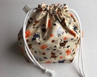 Drawstring Project Bag, project bag, knitter gift, gift for knitter, sock knitter bag, shawl knitter bag, fabric bag, drawstring bag
