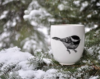 MADE TO ORDER porcelain coffee mug with wild animal drawing Canadian Wildlife collection