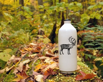Handmade white glossy porcelain cruet with woodland caribou drawing by Cindy Labrecque, Canadian Wildlife collection