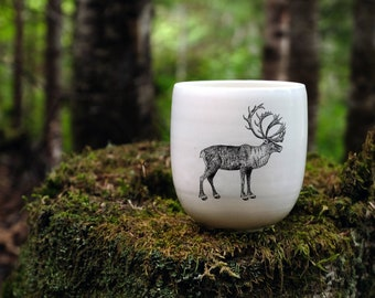 Handmade Porcelain coffee tumbler with Woodland Caribou drawing Canadian Wildlife collection