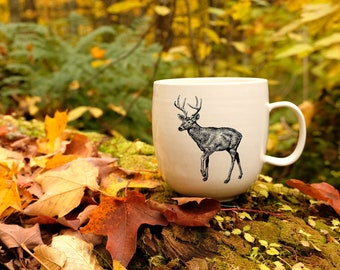 Handmade Porcelain coffee mug with white-tailed drawing Canadian Wildlife collection