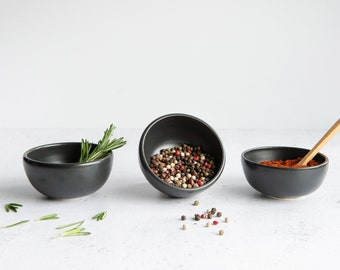 MADE TO ORDER - Handmade porcelain small spice / condiment bowl black / white // satin / glossy finish