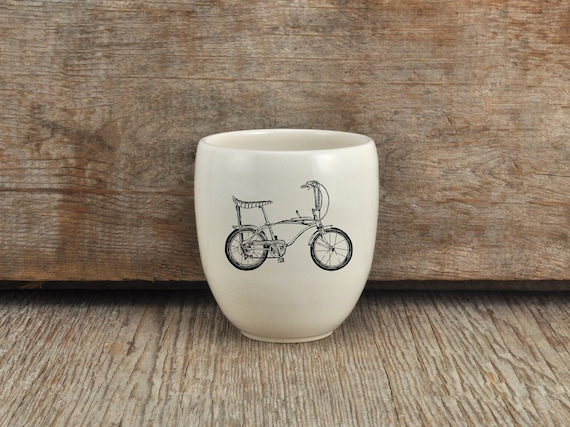 Porcelain coffee tumbler with vintage bicycle drawing by Cindy Labrecque