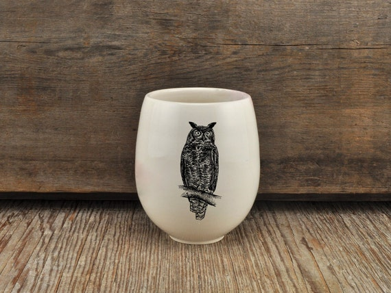 Handmade Porcelain wine tumbler with great horned owl drawing Canadian Wildlife collection