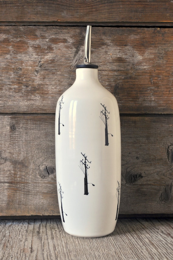 Porcelain oil/vinegar bottle with electric pole prints