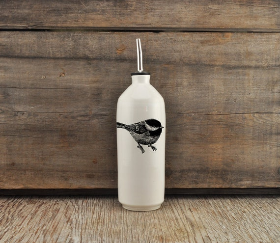 Handmade white glossy porcelain cruet with Black-Capped Chickadee drawing by Cindy Labrecque, Canadian Wildlife collection