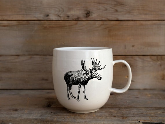 Handmade Porcelain coffee mug with moose drawing Canadian Wildlife collection