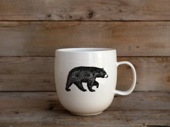 Handmade Porcelain coffee mug with American black bear drawing Canadian Wildlife collection
