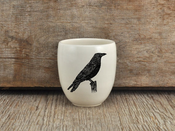 Handmade Porcelain coffee tumbler with American crow drawing Canadian Wildlife collection