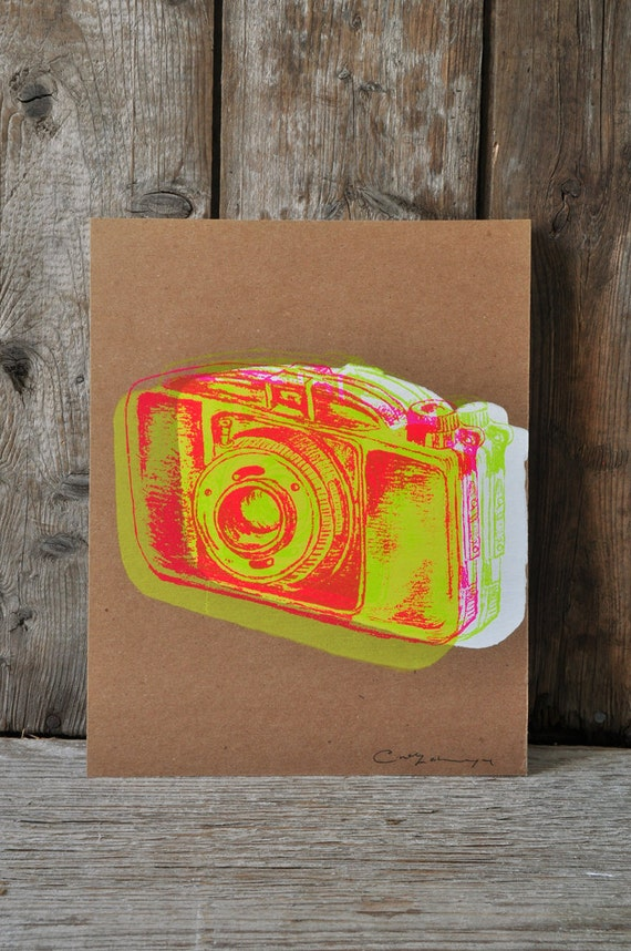 Camera #20, hand pulled silkscreen print, Boyer camera, 8 x 10 inches, open edition.