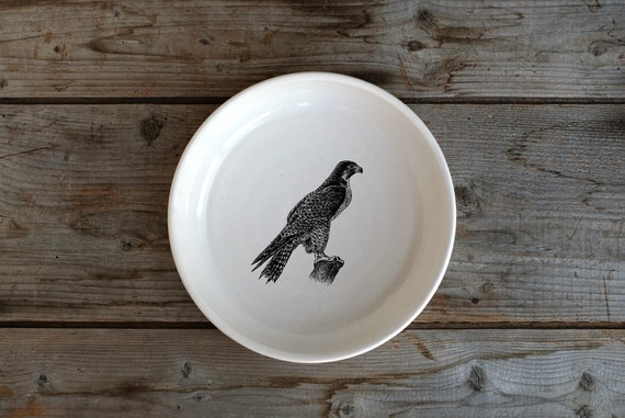 Handmade Porcelain shallow bowl/pasta bowl with Peregrine Falcon drawing by Cindy Labrecque, Canadian Wildlife collection