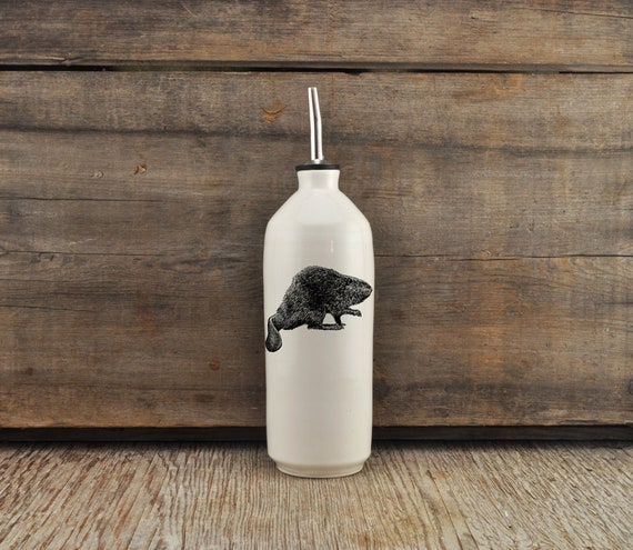Handmade white glossy porcelain cruet with North American beaver drawing by Cindy Labrecque, Canadian Wildlife collection