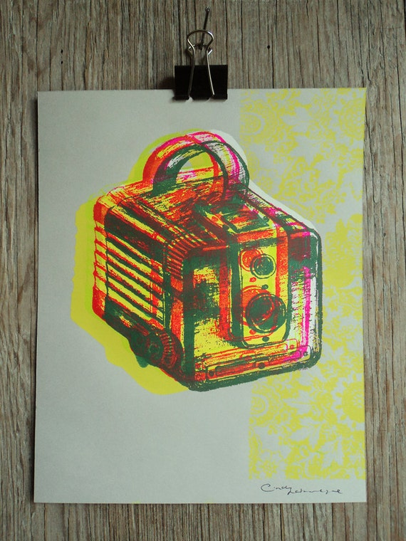 Camera #2, hand pulled silkscreen print, Kodak Brownie, 8 x 10 inches, open edition.