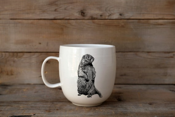 CUSTOM MADE - LEFT handed porcelain coffee mug with wild animal drawing Canadian Wildlife collection