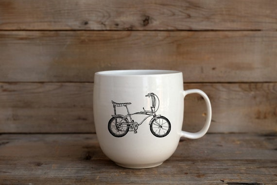 Porcelain coffee mug with vintage bicycle drawing by Cindy Labrecque