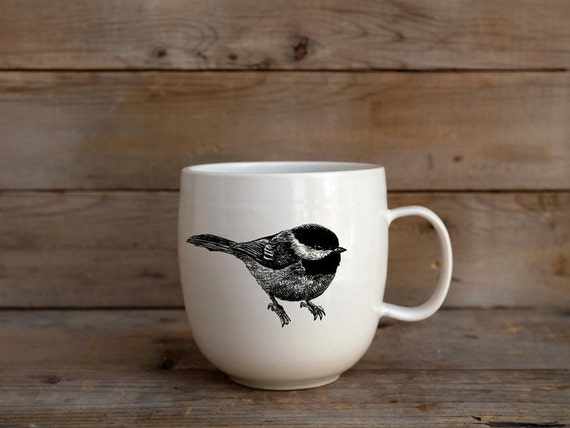 Handmade Porcelain coffee mug with black-capped chickadee drawing Canadian Wildlife collection