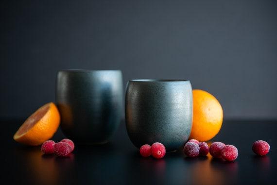 Small size black satine glaze stoneware tumbler