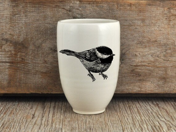 Handmade porcelain beer tumbler with black-capped chickadee drawing Canadian Wildlife collection