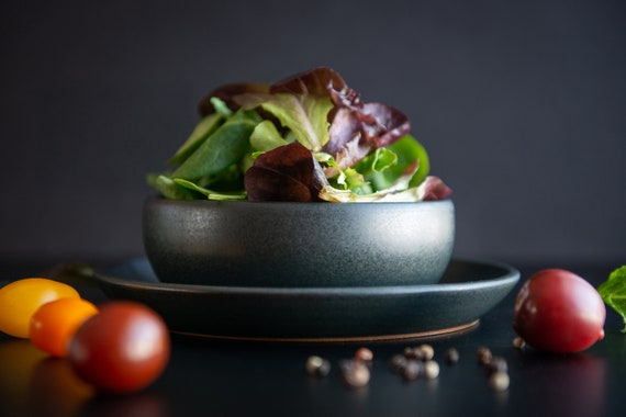 Small handmade black satine glaze stoneware shallow bowl/pasta bowl