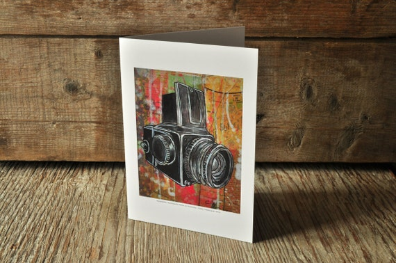 Vintage Hasselblad camera blank greeting card