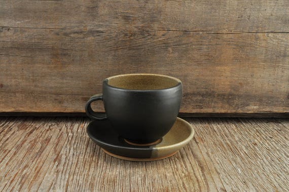 Two-tone satine glaze stoneware coffee / tea cup and saucer