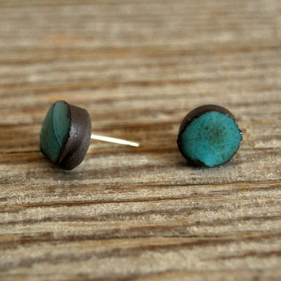 MINI glossy turquoise round stoneware stud earrings