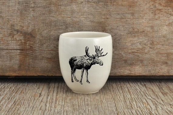 Handmade Porcelain coffee tumbler with moose drawing Canadian Wildlife collection