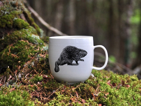 Handmade Porcelain coffee mug with North American beaver drawing Canadian Wildlife collection