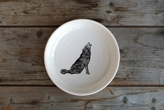 Handmade Porcelain shallow bowl/pasta bowl with wolf drawing by Cindy Labrecque, Canadian Wildlife collection