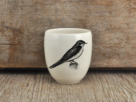 Handmade Porcelain coffee tumbler with Tree Swallow drawing Canadian Wildlife collection