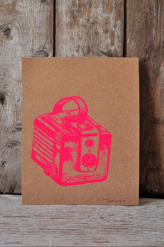 Camera #14, hand pulled silkscreen print, Kodak Brownie, 8 x 10 inches, open edition.