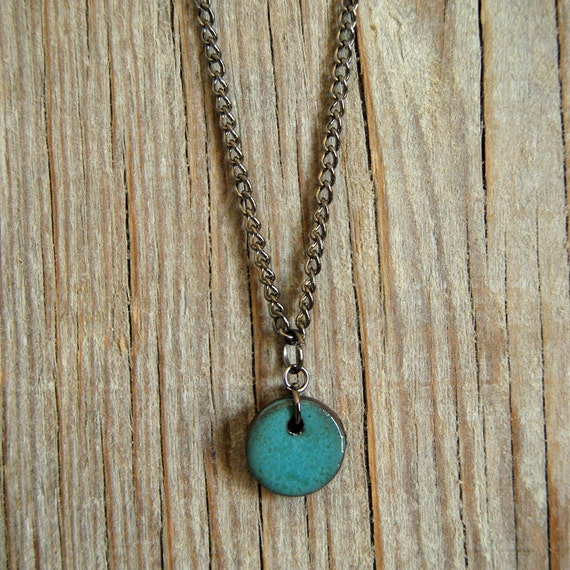 SMALL glossy turquoise round stoneware pendant