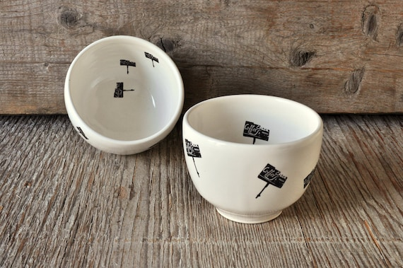 One porcelain coffee bowl with vintage COFFEE SHOP signs