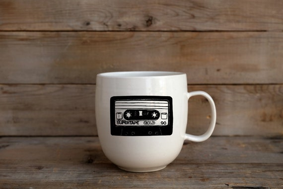 Porcelain coffee mug with cassette tape drawing by Cindy Labrecque